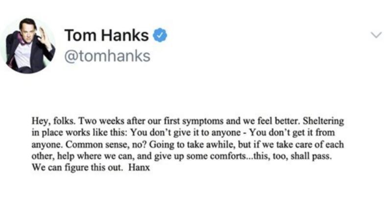 汉克斯分享抗疫经验