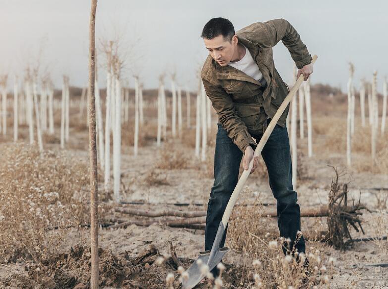胡歌现身做公益 手拿铲子亲自挖沙植树Man味十足