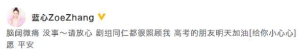 张蓝心发文报平安